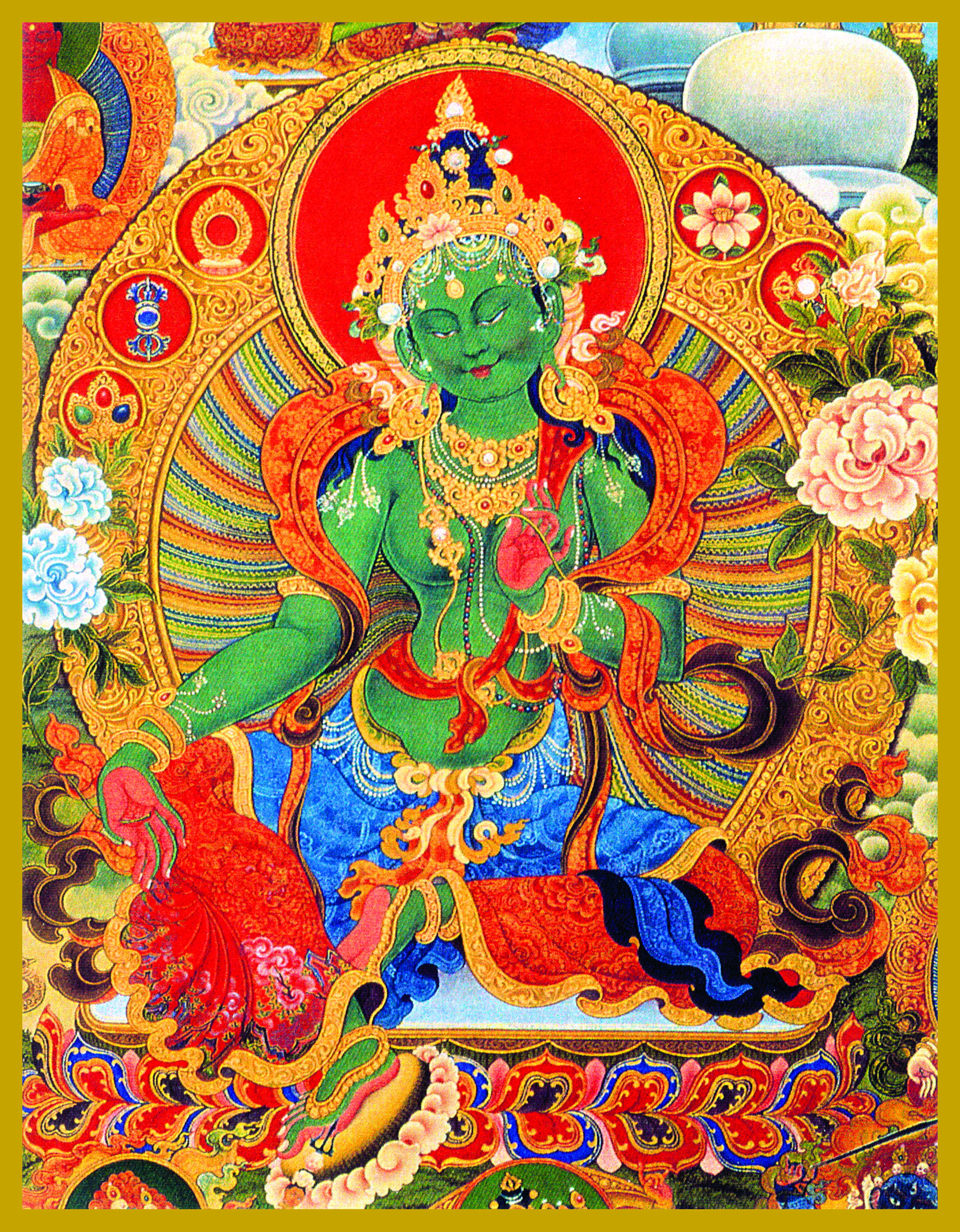 TAR-GN - Green TaraMother of CompassionTara was born of a tear of Avalokiteshwara -- she is the Mother of Compassion who answers all prayers. Tara appears in as many as 21 different forms and colors, of which White and Green are the oldest. Tara offers health, long life, growth, prosperity and protection to all who call on her.
