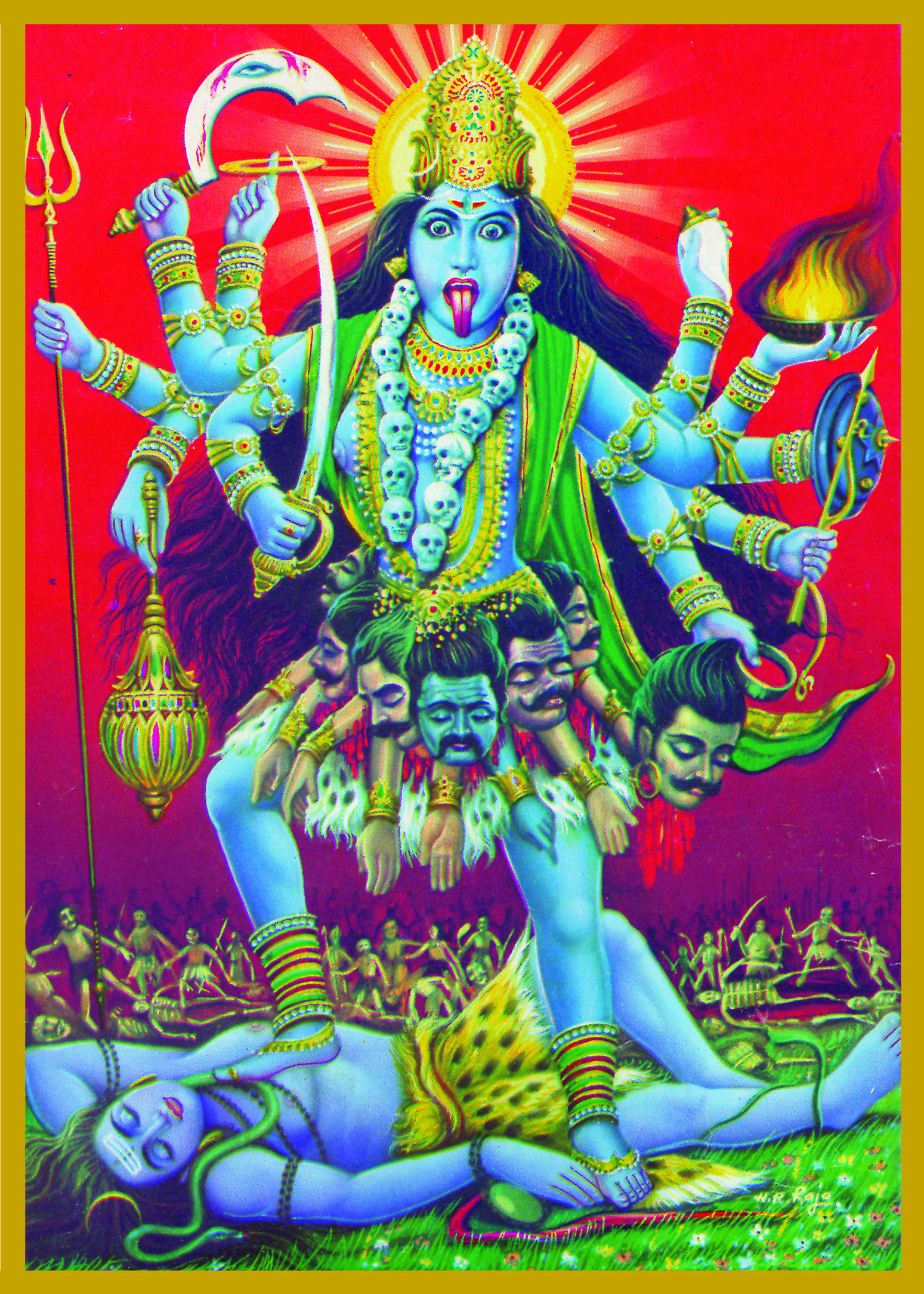 KAL-BLU - BLUE KALISlayer of Time & Death, Destroyer of IllusionKali literally means both 'death' and 'time.' Goddess Kali represents the state where time, space and causation have disappeared.She is both the destroyer and creatrix and is the consort of Lord Shiva. Durga is Kali's mother.