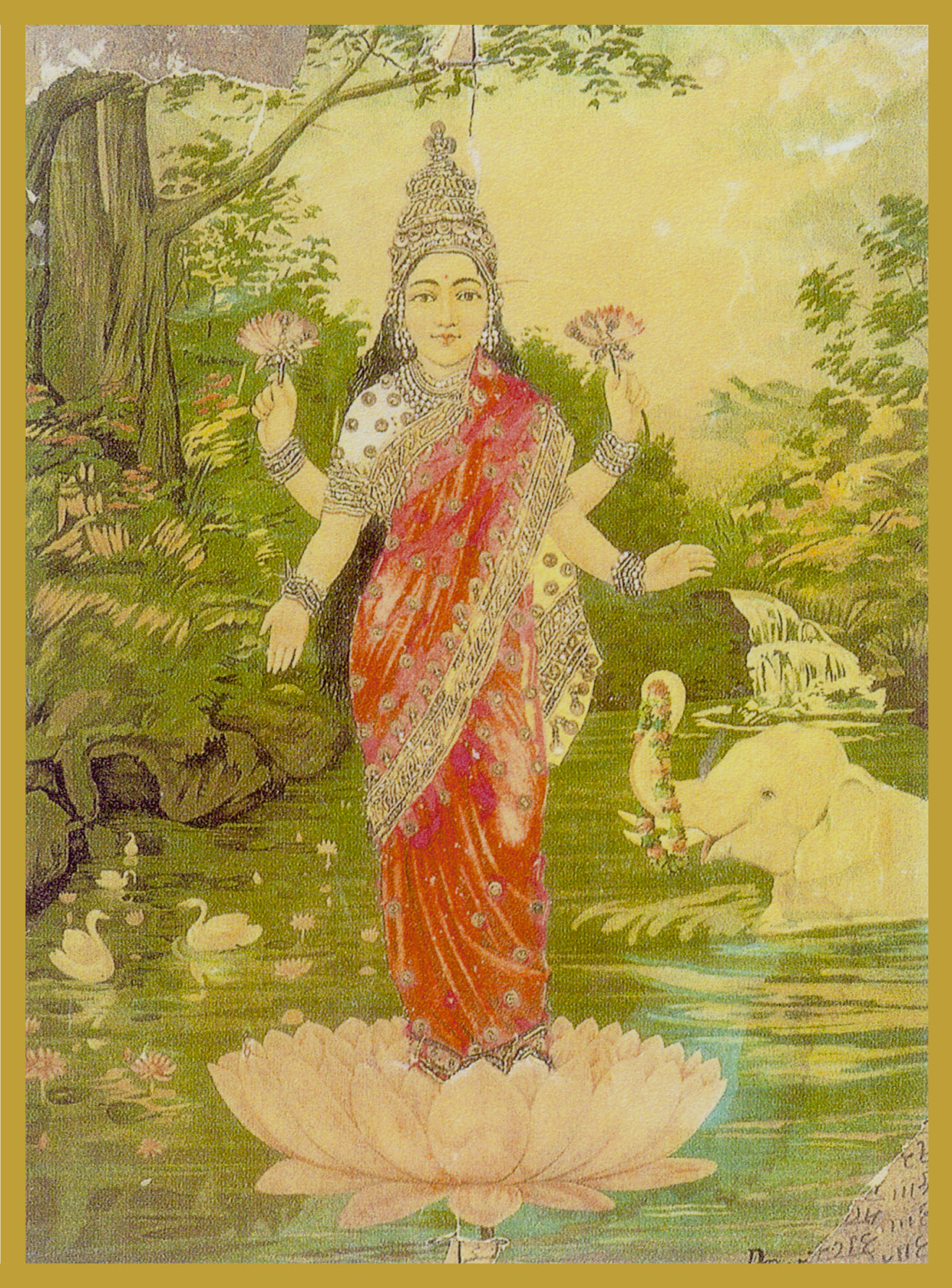 LAK-EL - LAKSHMIGoddess of Love, Beauty and ProsperityLakshmi is the consort of Lord Vishnu and is the feminine aspect of The Preserver. Lakshmi is enchantingly beautiful and is the goddess of Fortune. She maintains harmony, joy and fullness in the universe.