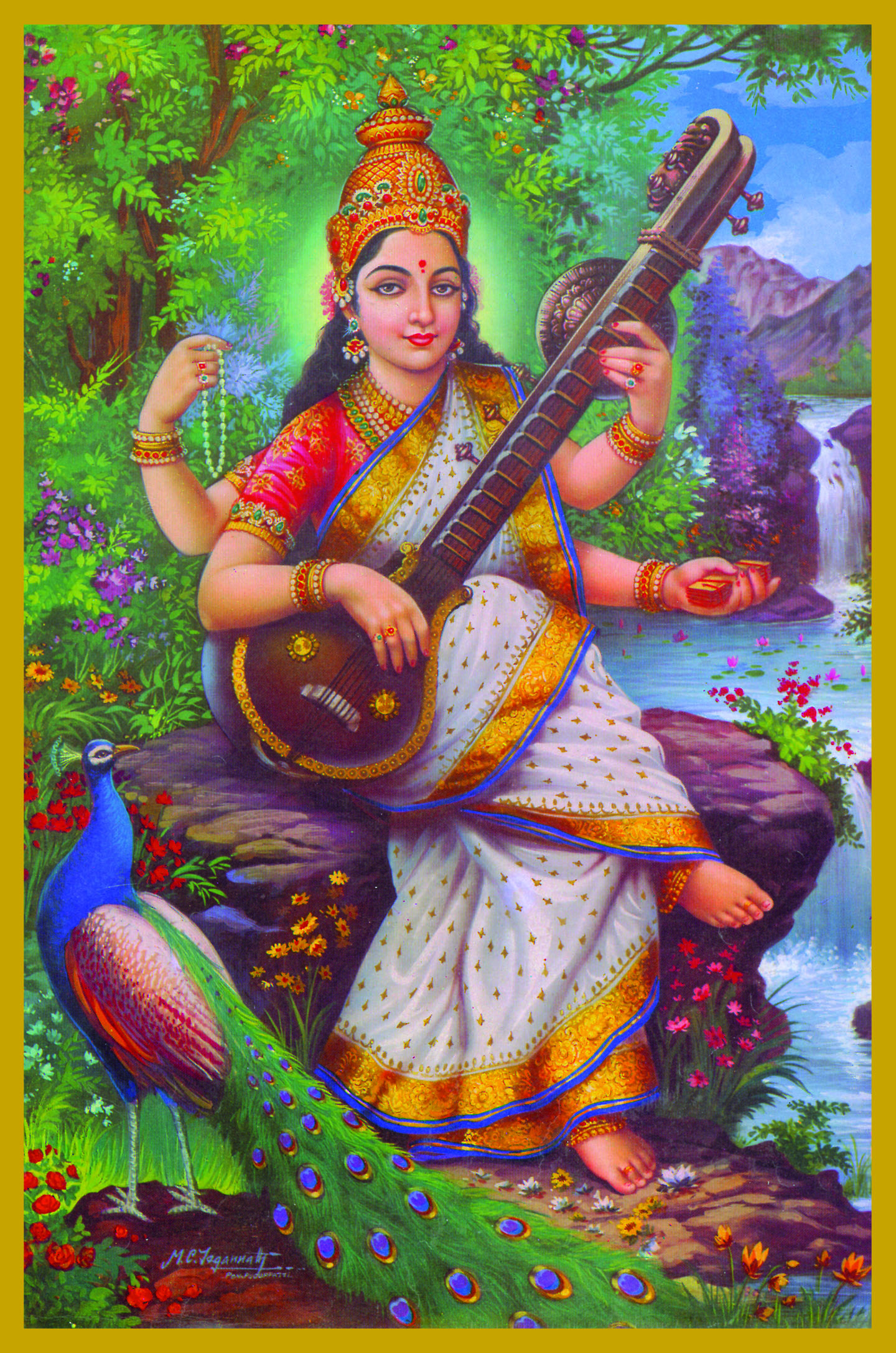 SAR-SIT - SARASWATIGoddess of Creativity, Inspiration and LanguageSaraswati is the consort of Brahma, the creator -- she is therefore the Co-Creatrix or mother of the whole of creation. Saraswati means 'the flowing one.' She is the personification of all knowledge-- arts, language, music, mathematics and science.