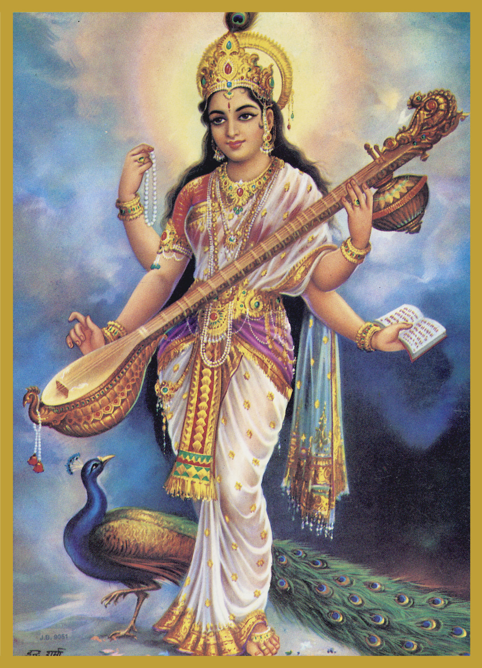 SAR-ST - SARASWATIGoddess of Creativity, Inspiration and LanguageSaraswati is the consort of Brahma, the creator -- she is therefore the Co-Creatrix or mother of the whole of creation. Saraswati means 'the flowing one.' She is the personification of all knowledge-- arts, language, music, mathematics and science.