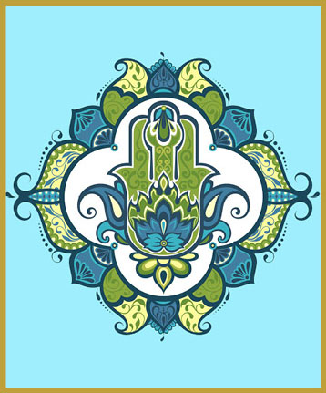 HAM-BL - HAMSA HAND OF PROTECTIONThe hamsa (also: Khamsa) is believed to provide defense against the evil eye. The symbol originated in Carthage, modern-day Tunisia, and was associated with the Goddess Tanit. It is popular through out the Middle East and North Africa.