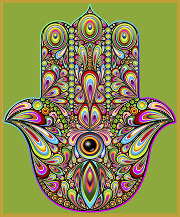 HAM-PI - HAMSA HAND OF PROTECTIONThe hamsa (also: Khamsa) is believed to provide defense against the evil eye. The symbol originated in Carthage, modern-day Tunisia, and was associated with the Goddess Tanit. It is popular through out the Middle East and North Africa.