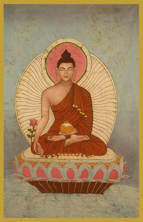 BUD-SAK - Sakyamuni BuddhaThe Enlightened OneBuddha, in the sixth century BC, at the age of 35, invoked the earth as his witness when he attained Enlightenment. This is indicated by the fingers of his right hand in the