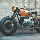 Photo: Antique BMW motorcycle, orange tank.