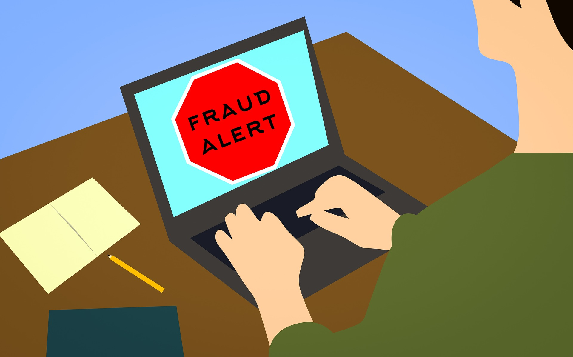 """Colorful block-print image of a laptop computer screen with large red warning that says """"Fraud Alert!"""""""
