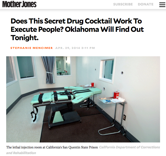 "Update: Oklahoma canceled the second execution after the first one went horribly awry. According to the New York Times, after he'd been declared unconscious, prisoner Clayton D. Locket twitched and gasped and said ""man"" and ""something's wrong,"" before dying of a heart attack.  Officials in Oklahoma and other states have resorted to these methods because they can no longer access sodium thiopental, the anesthetic traditionally used in lethal injections, and another drug used to paralyze the condemned. The lone US manufacturer quit producing sodium thiopental in 2011, and international suppliers—particularly in the  European Union, which opposes the death penalty on humanitarian grounds —??have stopped exporting both drugs to the United States. This has left states like Oklahoma scrambling to find new pharmaceuticals for killing death row inmates. Some have been reduced to  illegally importing the drugs , using untested combinations, or buying from unregulated compounding pharmacies, a number of which have a history of producing contaminated products.  Due to a shortages of pentobarbital and vercuronium bromide, Oklahoma planned to buy the drugs from an unnamed compounding pharmacy. This was problematic because such pharmacies are unregulated, and contaminated pentobarbital can result in excruciatingly painful deaths. (Experts say it can feel as though the insides of a person's veins are being scraped with sandpaper.) South Dakota used a compounded pentobarbital  contaminated with a fungus  to execute Eric Robert in 2012. During the execution, he repeatedly opened his eyes—a sign that the drug wasn't working, some experts said. Oklahoma has had similar problems. In January, it executed another man, Michael Lee Wilson, using pentobarbital from an unidentified compounding pharmacy. During the execution he sputtered, "" I feel my whole body burning ,"" another sign that the drug wasn't doing its job.    http://www.motherjones.com/politics/2014/04/double-execution-tonight-ok-using-secret-experimental-drug-protocol/"