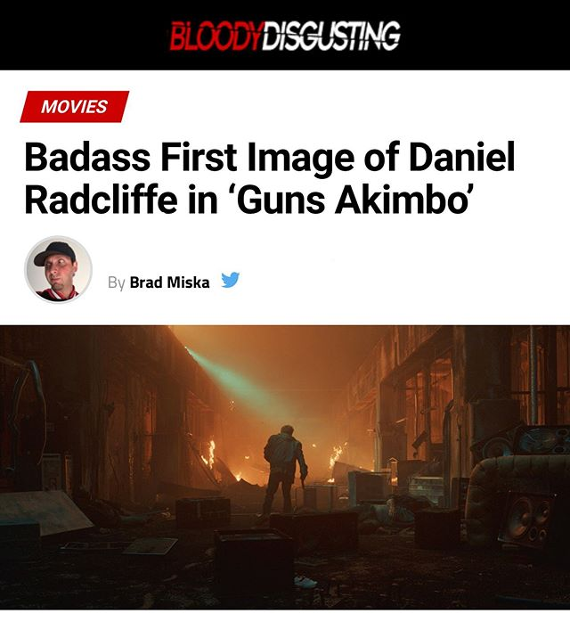 Tis true @bdisgusting this is the first official image released of GA with Dan! Wanna know how he gets here? You'll just have to wait and see! #gunsakimbo #bloodydisgusting #tiff #danielradcliffe #badass