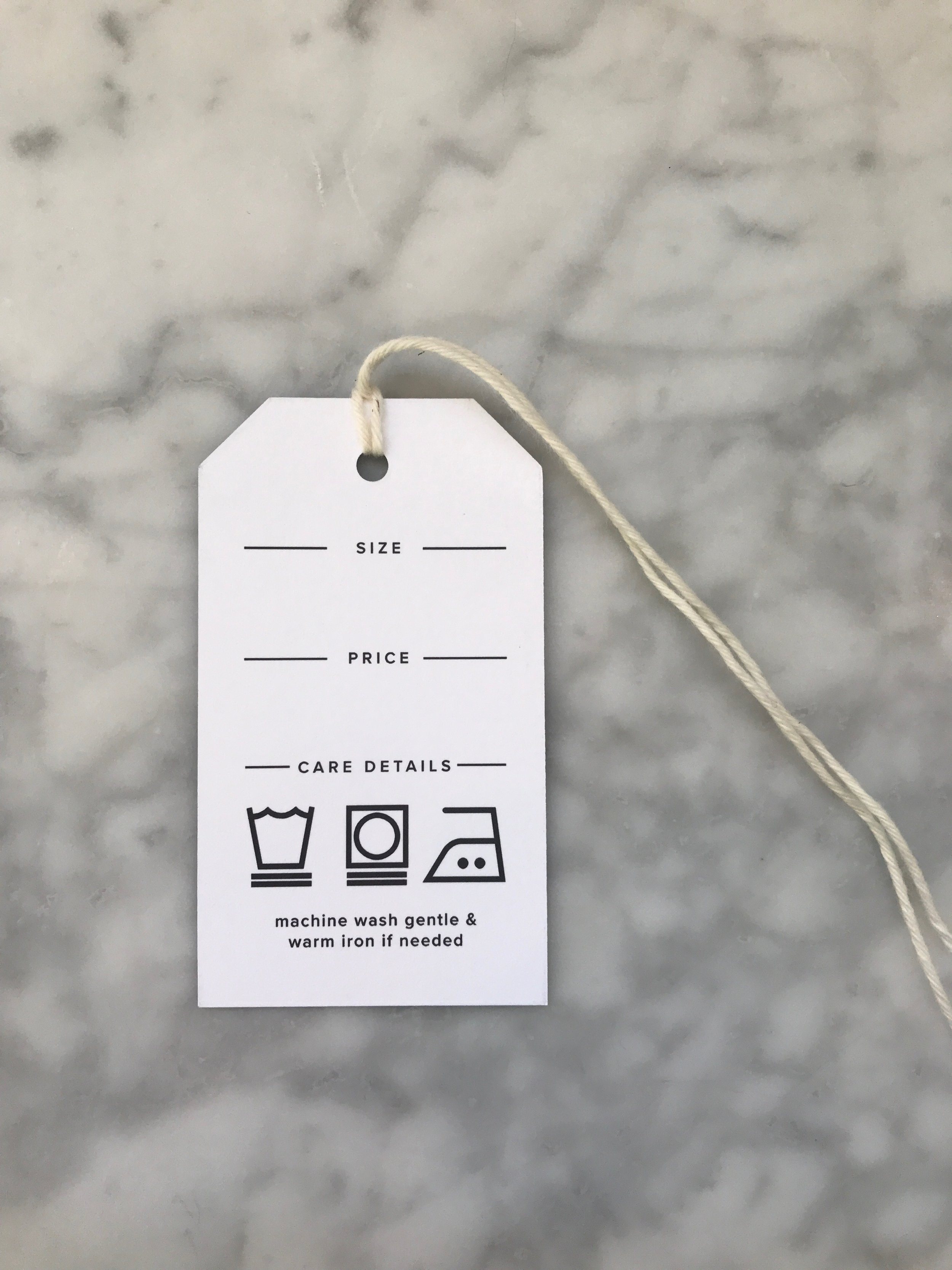 Back of the new hang tags -