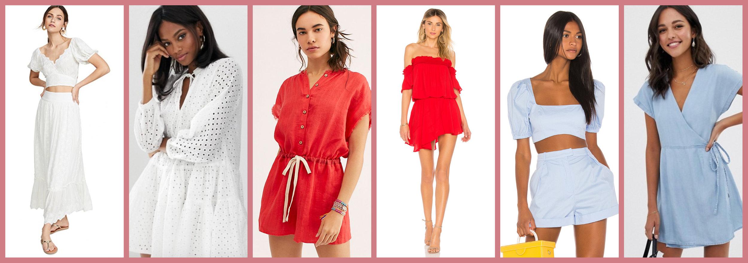 Bohemian Set     Eyelet Dress       Red Romper       OTS Mini     Baby Blue Set       Chambray Wrap Dress