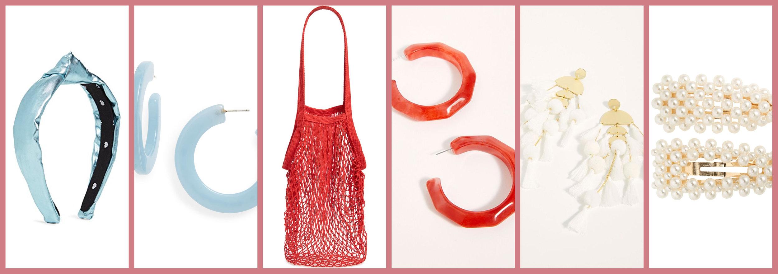 Metallic Headband       Acetate Hoops       Net Tote       Resin Hoops       Tassel Earrings     Pearled Hair Clips