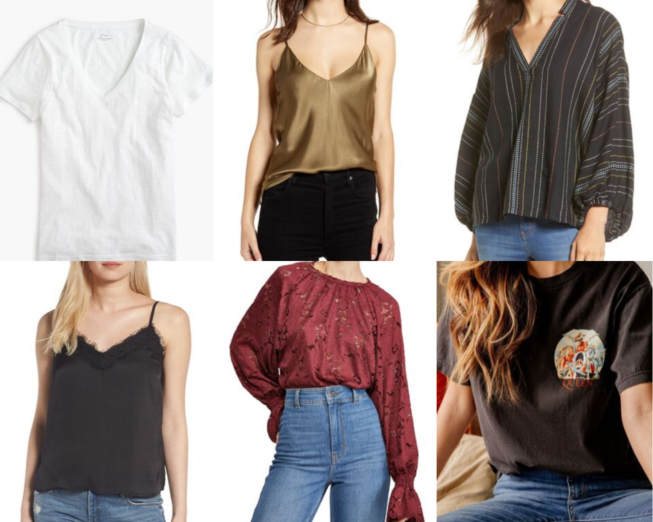 TOPS:    PERFECT WHITE T    |    GOLD SILK CAMI    |    MULTI COLORED BLOUSE    |    BLACK SILK CAMI    |    LACE LONG SLEEVE    |    QUEEN GRAPHIC T    |