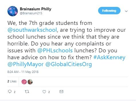 This tweet earned a reply from the mayor and eventually led to a meeting with school representatives and the food service vendor.