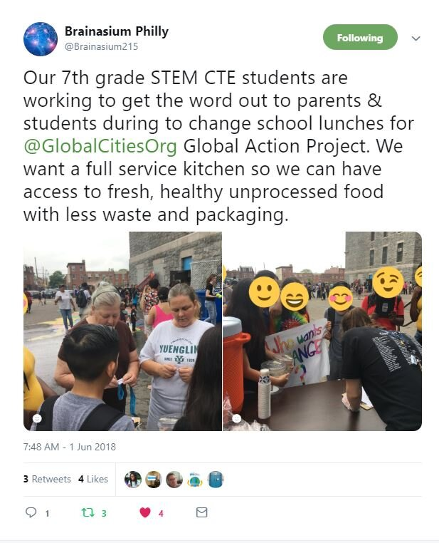 Janene Hasan's students reached out to the community to gain support for their request for better lunches at their school.