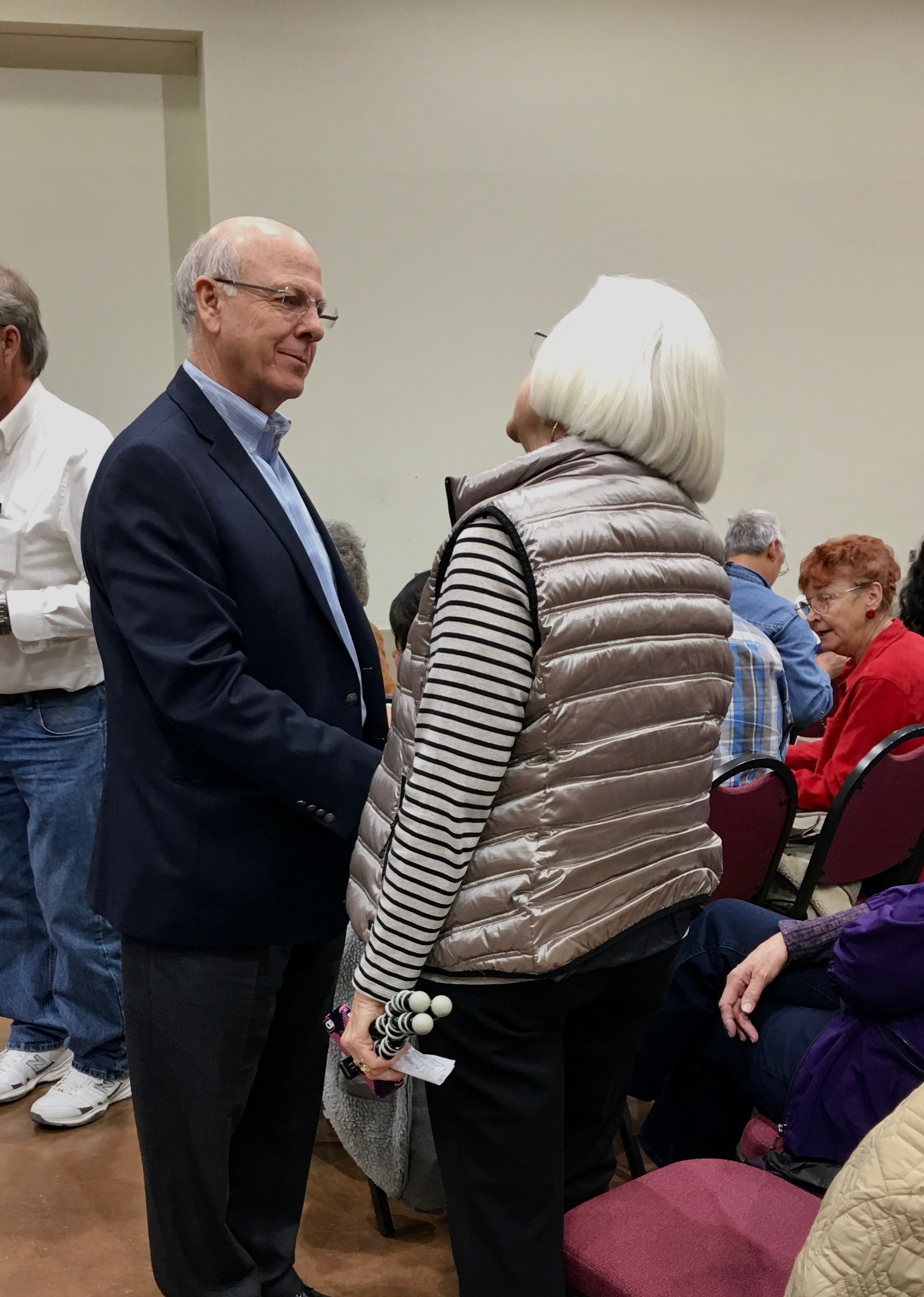 Pat Warner is both persuasive and persistent in questioning Rep. Steve Pearce (R-NM) at a town hall in Ruidoso. -