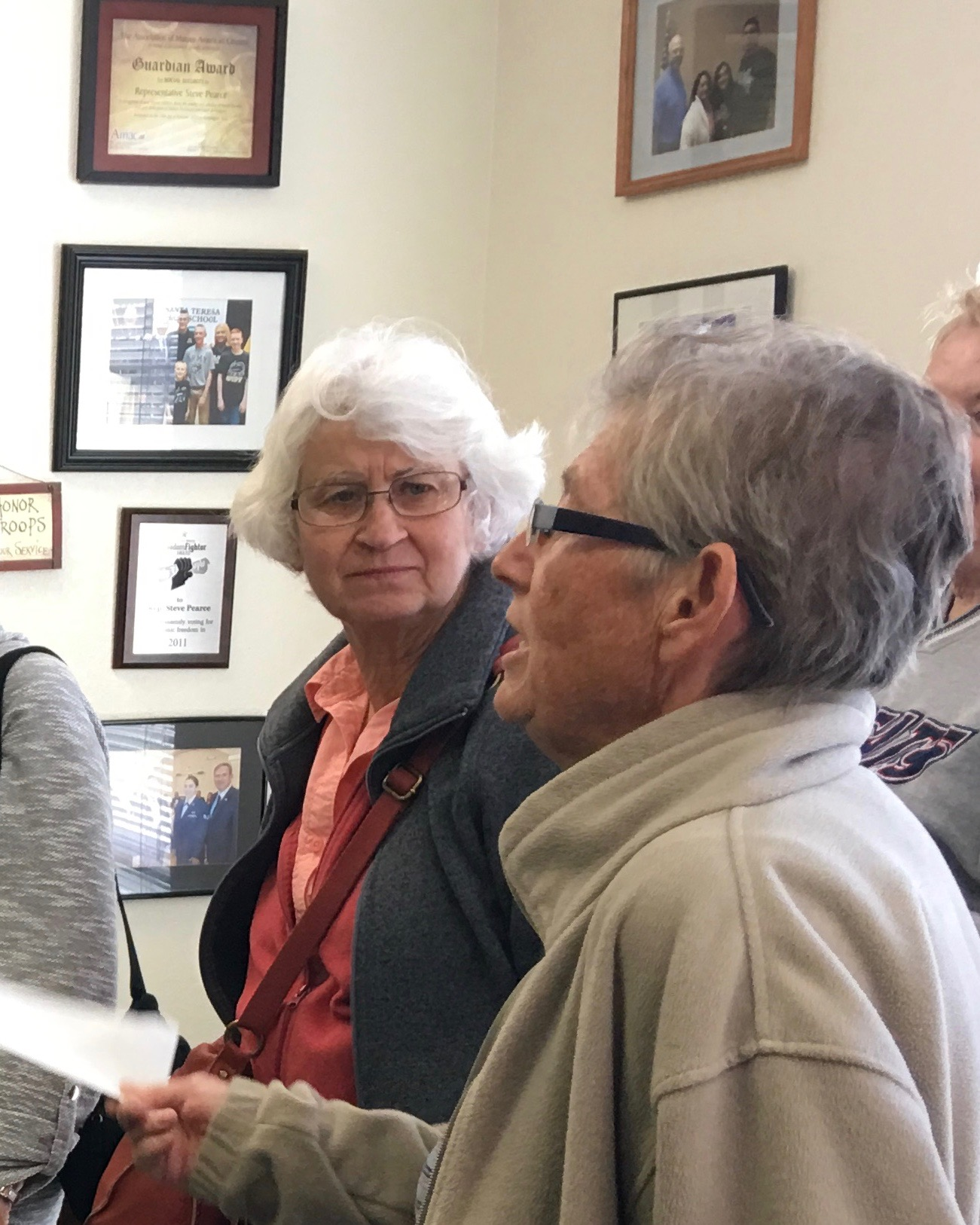 Vi Beadle in one of her many trips to deliver letters and her opinion to taff at Rep. Steve Pearce's (R-NM) local office. -