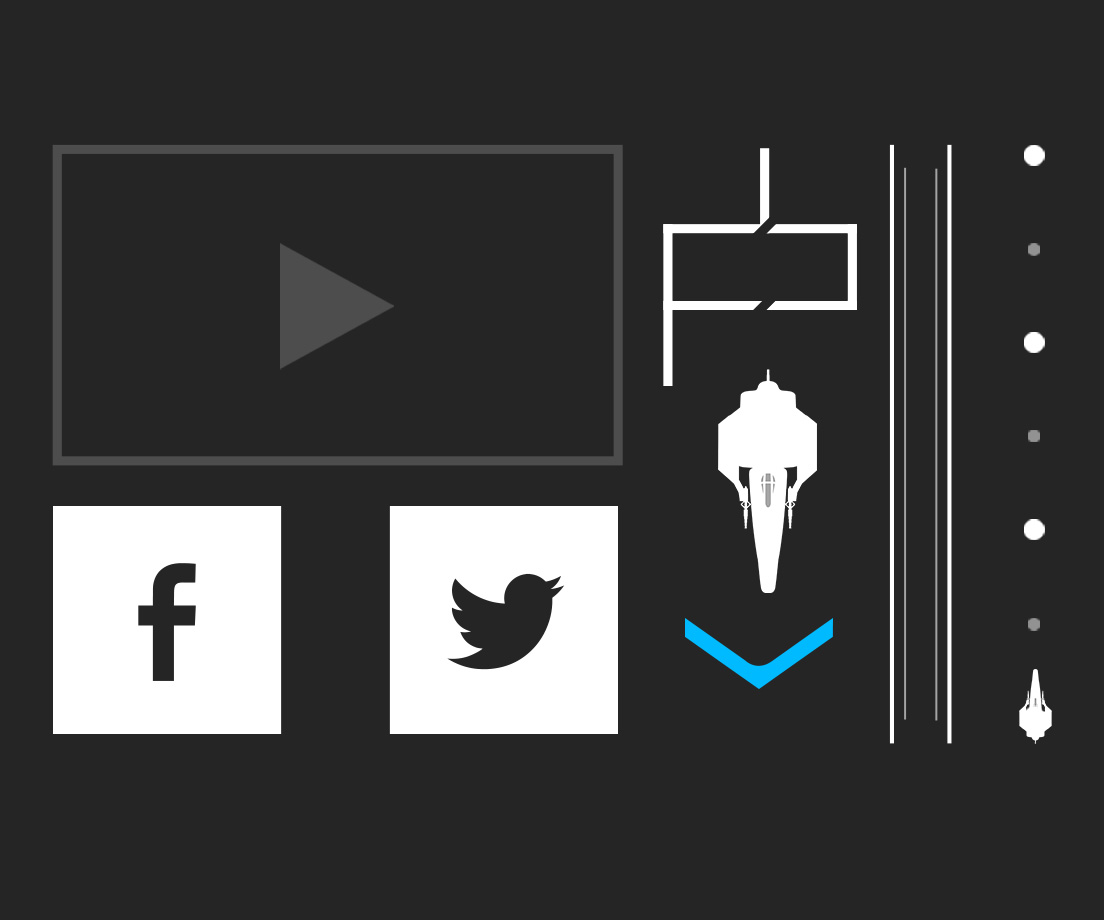 We created a number of UI elements to help us build our websites with. We have the band logo which we created  to mainly feature as our home button. We also made two different elements for scrolling websites. Finally we made some social media buttons to add more functionality to the site