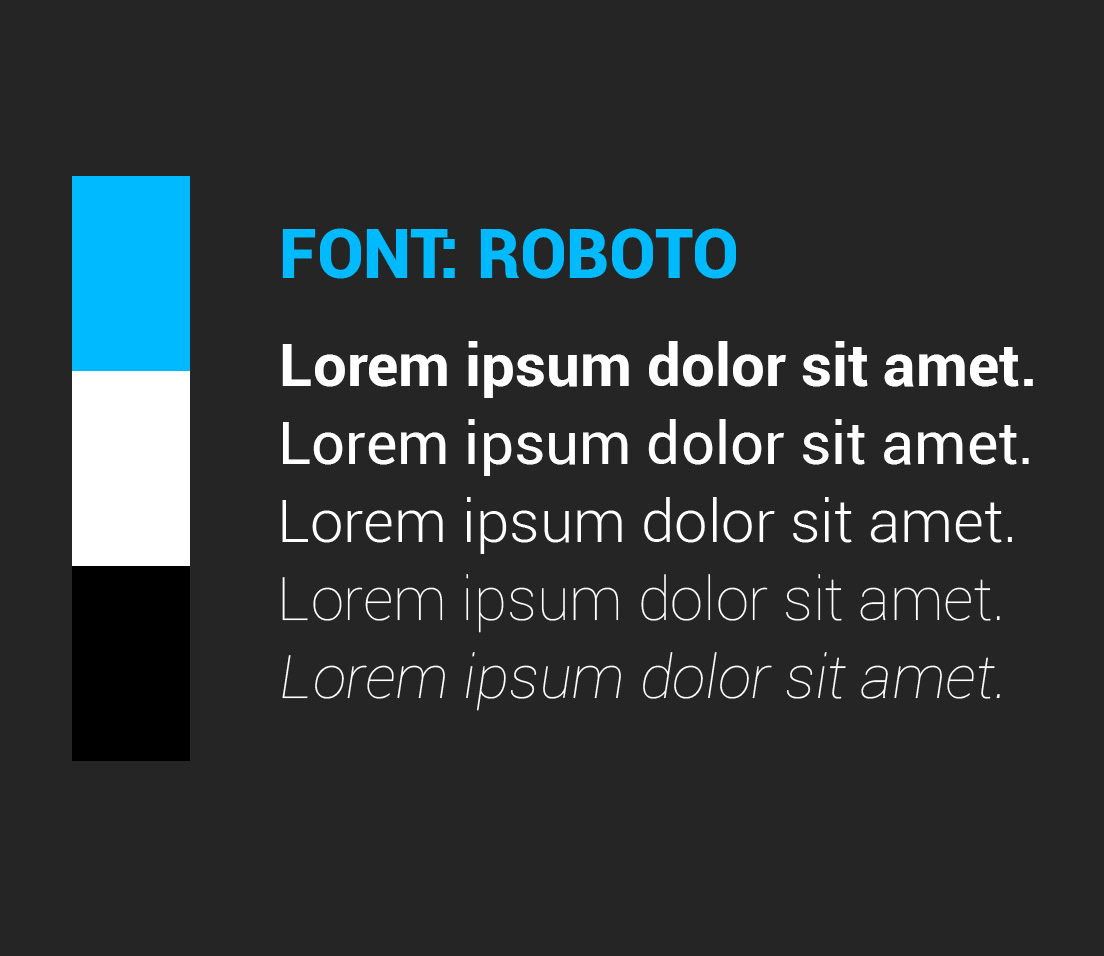We decided on using the Font Roboto as we feel that it is a clean legible font that also has a somewhat futuristic feeling to it. Another factor when choosing the font was it came in several weights, this is good because we can use it for headers and body text.