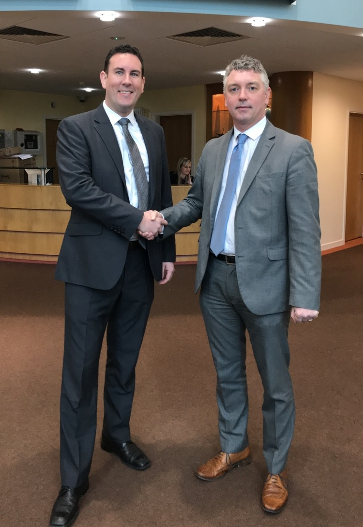 Brian O'Callaghan welcomes Roger Leyden to the offices of Glas Éireann Solutions