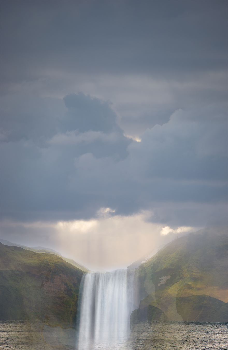 Clouds over Cook Straight from Opau Bay + Skógafoss Waterfall, Iceland