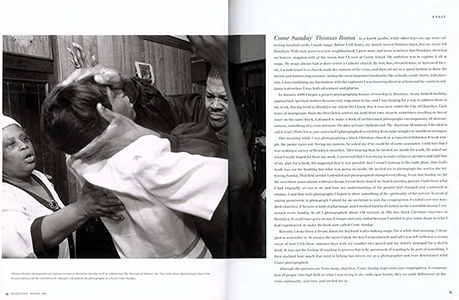 - Read about Come Sunday in DoubleTake Magazine, Winter, 1996