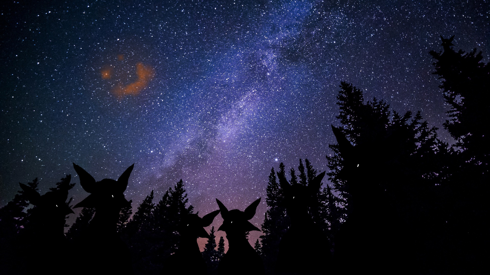 Image: A tribe of molluscoid primitives on Sirius V observes the glowing wreckage from the Battle of Sirius on a clear night. This tribe seems to regard it as the malevolent embodiment of all the hatred and anger in the universe.