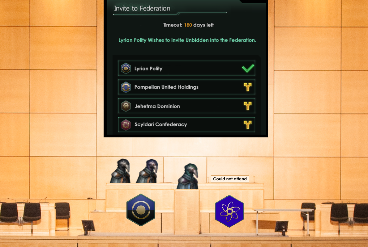 Image: The Lyrian Polity delegation officially announces the invitation at the Harmonius Axis summit. Unfortunately, the Unbidden could not send a delegation. Image modified from Tom Page on Flickr.