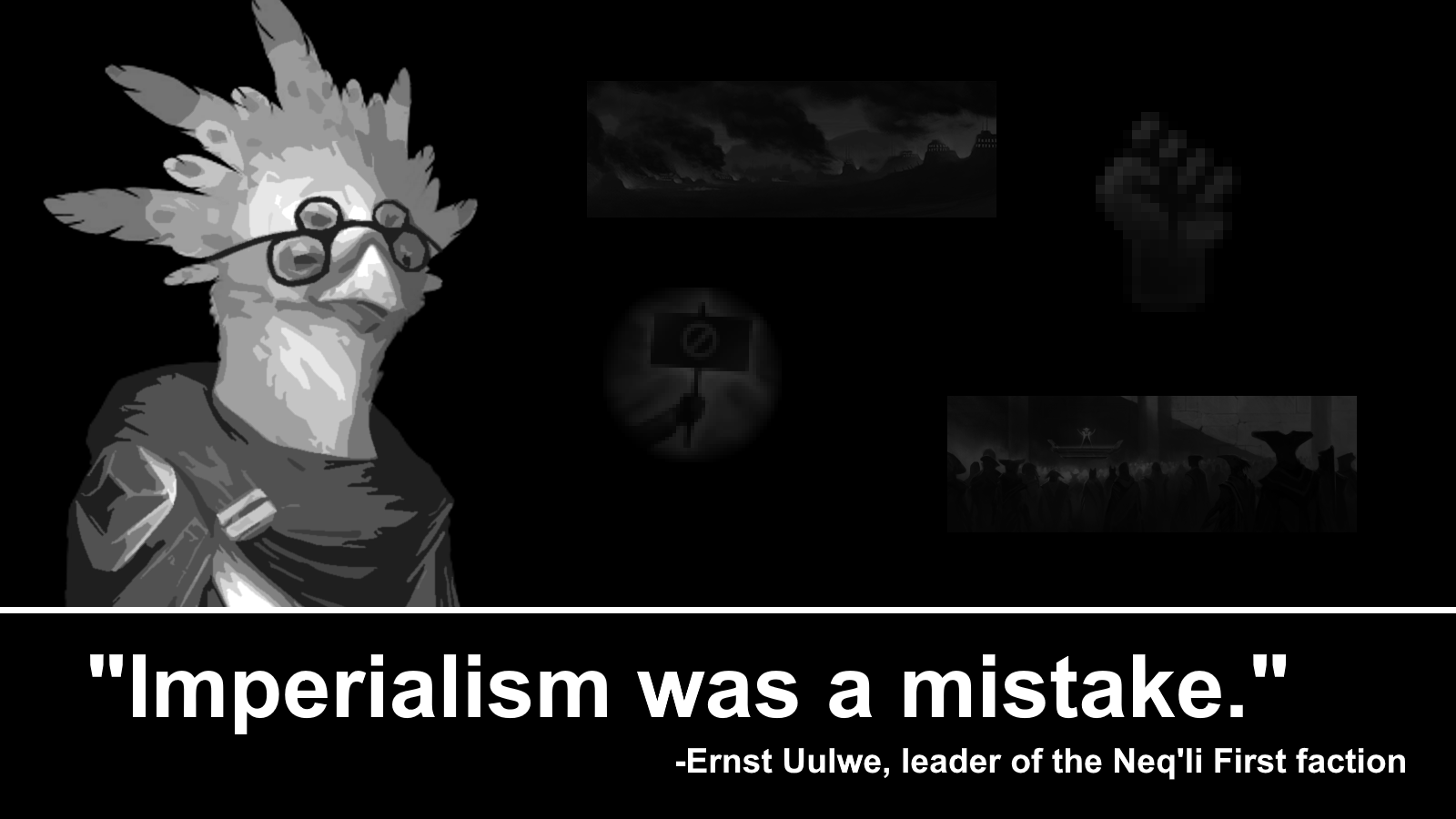 Image: Dr. Ernst Uulwe, leader of the Neq'li Empire's supremacist faction, apparently regrets policies like the primitive integration campaign that is the cause of the conflicts on Thripto.
