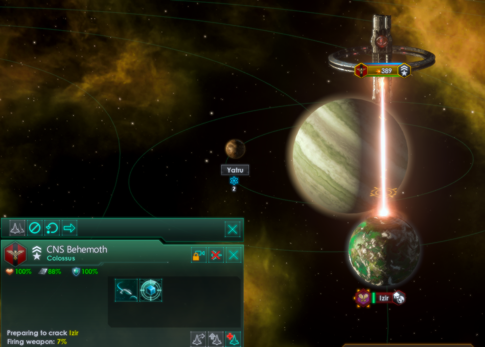 Image: The Galactic Security Council have approved construction of planet-destroying Colossus-class ships. Pictured during a test-fire last month, CNS Behemoth fires upon the planet of Izir, which was selected for the honor via a galactic televote. [Image from @StellarisGame]