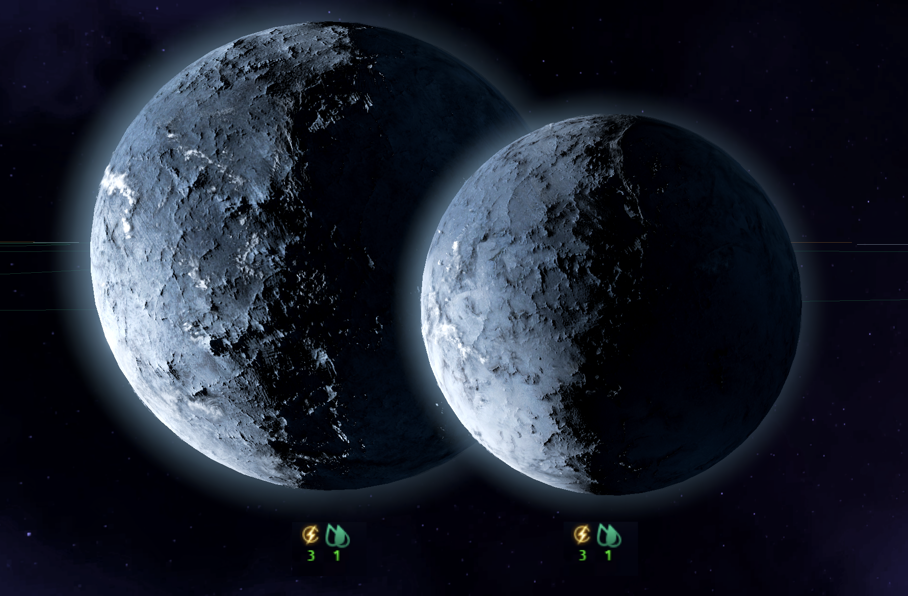 "Image: The Lorax League recently discovered what it called ""ridiculously huge"" amounts of Terraforming Liquids on the frozen planet of Gianfor X and its large moon Gianfor XI."