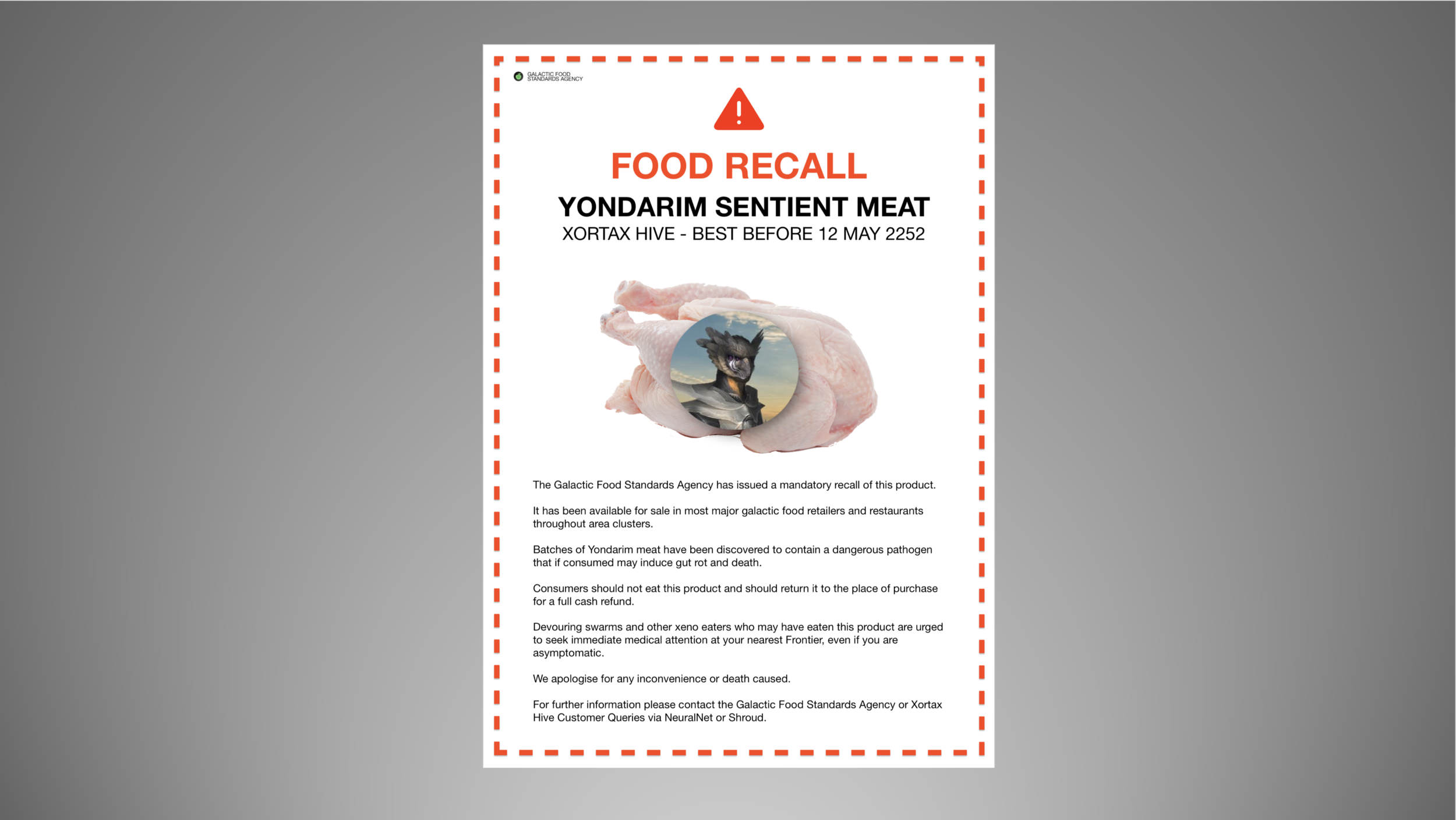 Image: The Galactic Food Standards Authority have released an urgent food recall for all Yondarim meat best before May 2252.