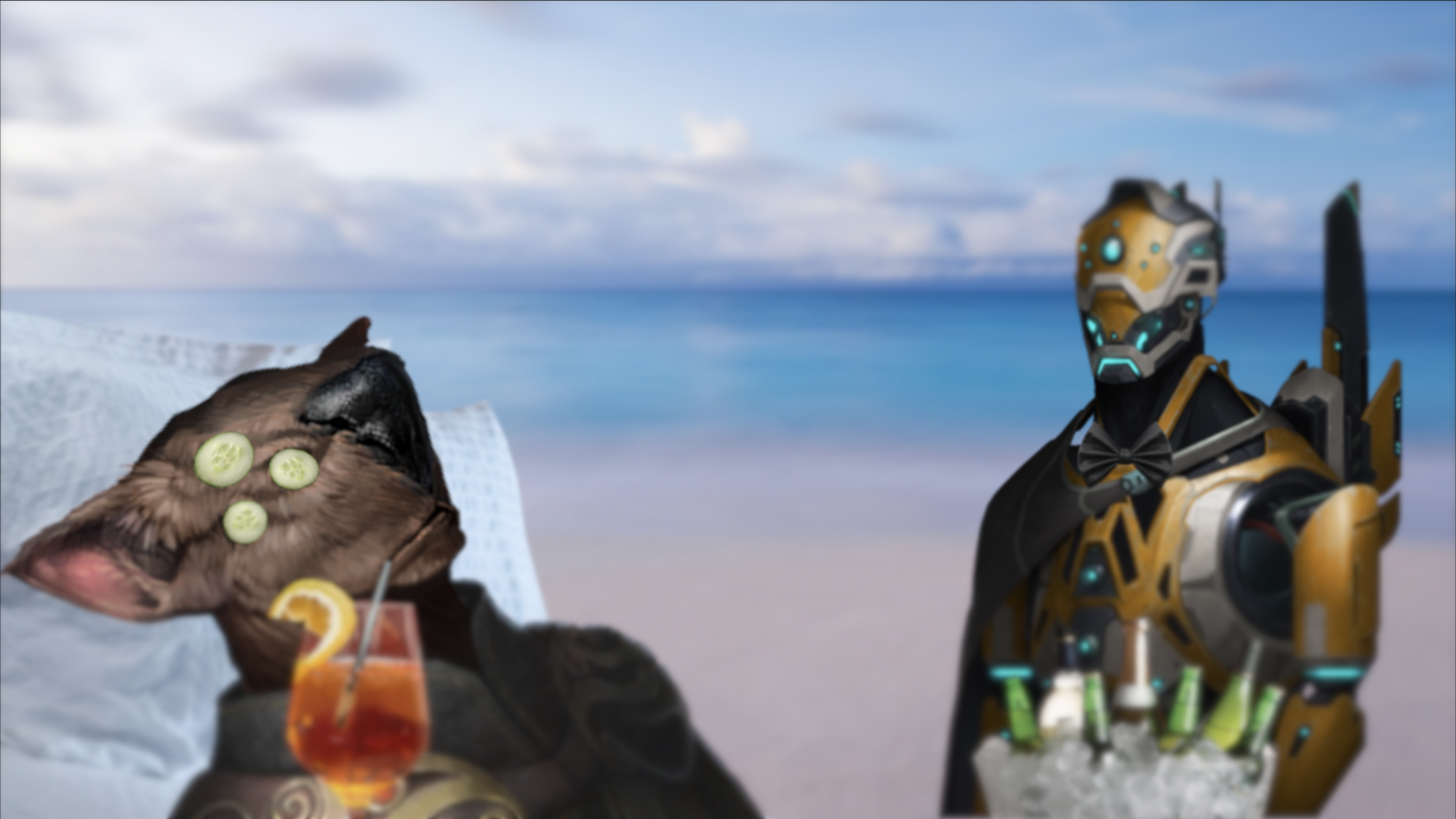 Image: A Sinrath bio-trophy enjoys mandatory relaxation in one of thousands of Paradise Domes on Dekronia, as requested by its ever watchful robotic Custodian.