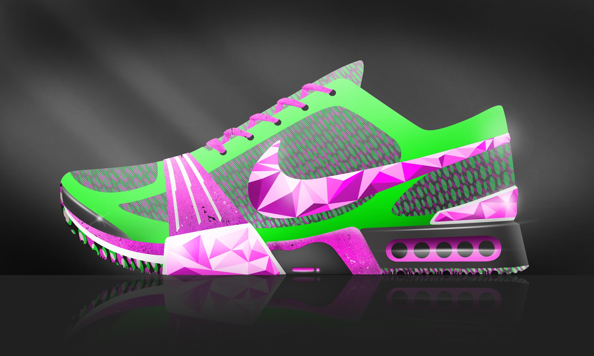 Photoshop render of a sneaker design inspired by Nike Airmax.