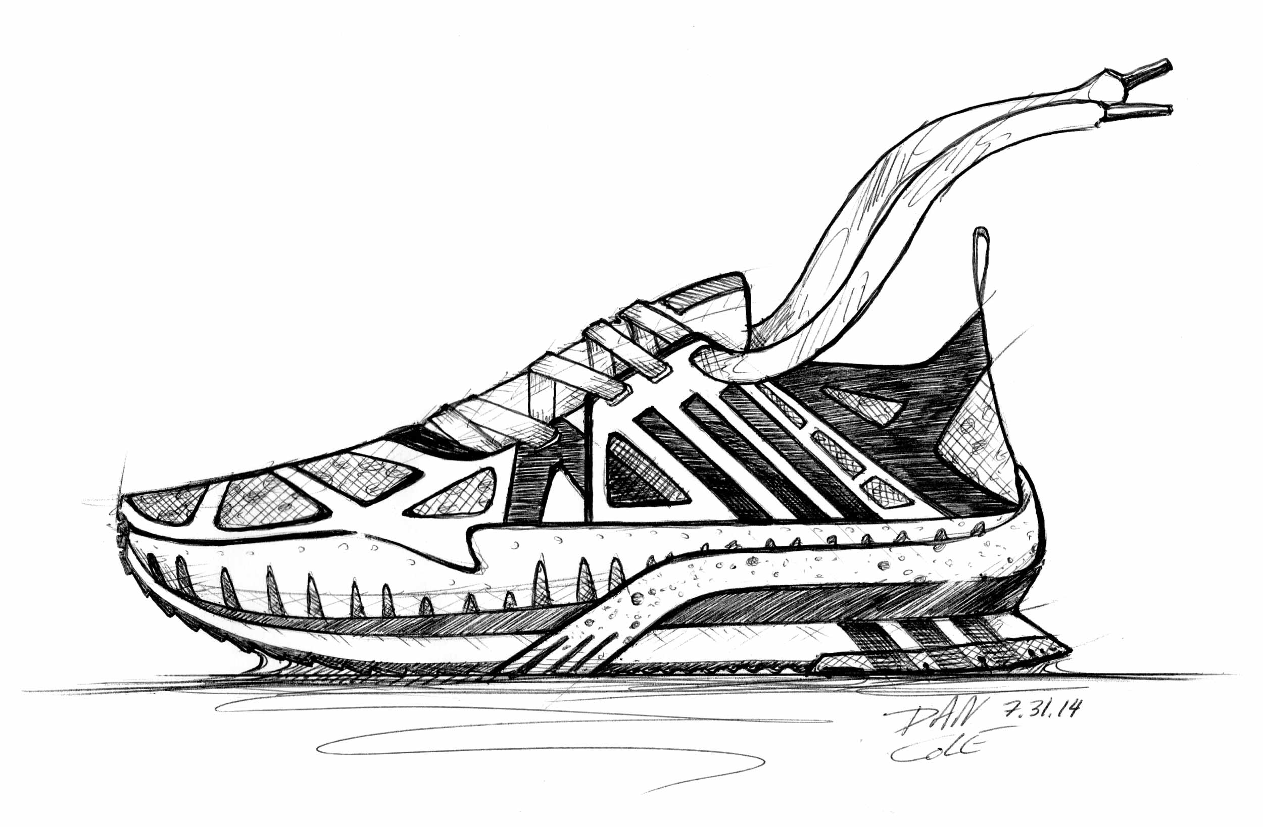 Adidas running shoe I sketched for an application to Pensole.