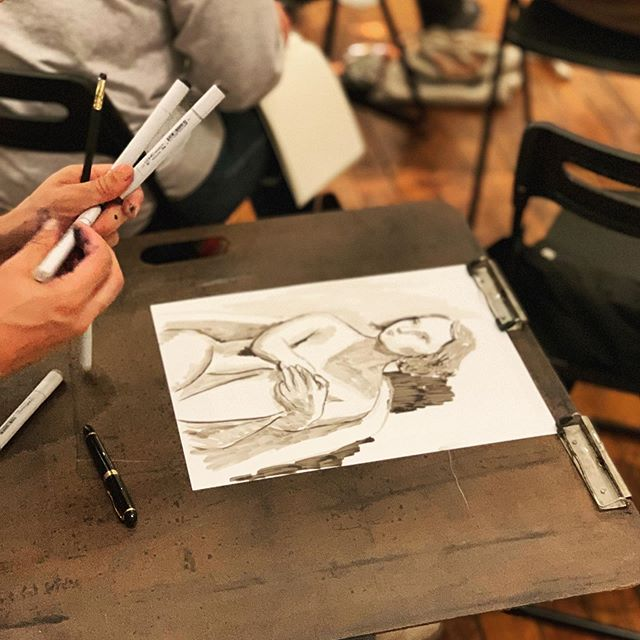 we love the variety of tools everyone brings to drink & draw! what's your favorite? #tarrytowndrinkndraw