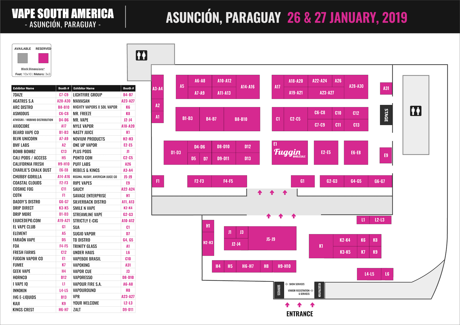 Booth Map - Vape South America Expo 2019 in Asuncion Paraguay