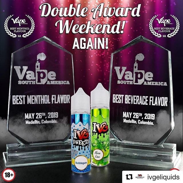 @ivgeliquids ・・・ Double Award weekend again! Thank you our Columbian Friends who voted for us, thank you ALL for the love 💖 we will be back in Columbia soon to meet you lovely people again!  #ivgeliquids #ivg #ivapegreat @vsaexpo - - World's Best Bubblegum WON AGAIN!!!!