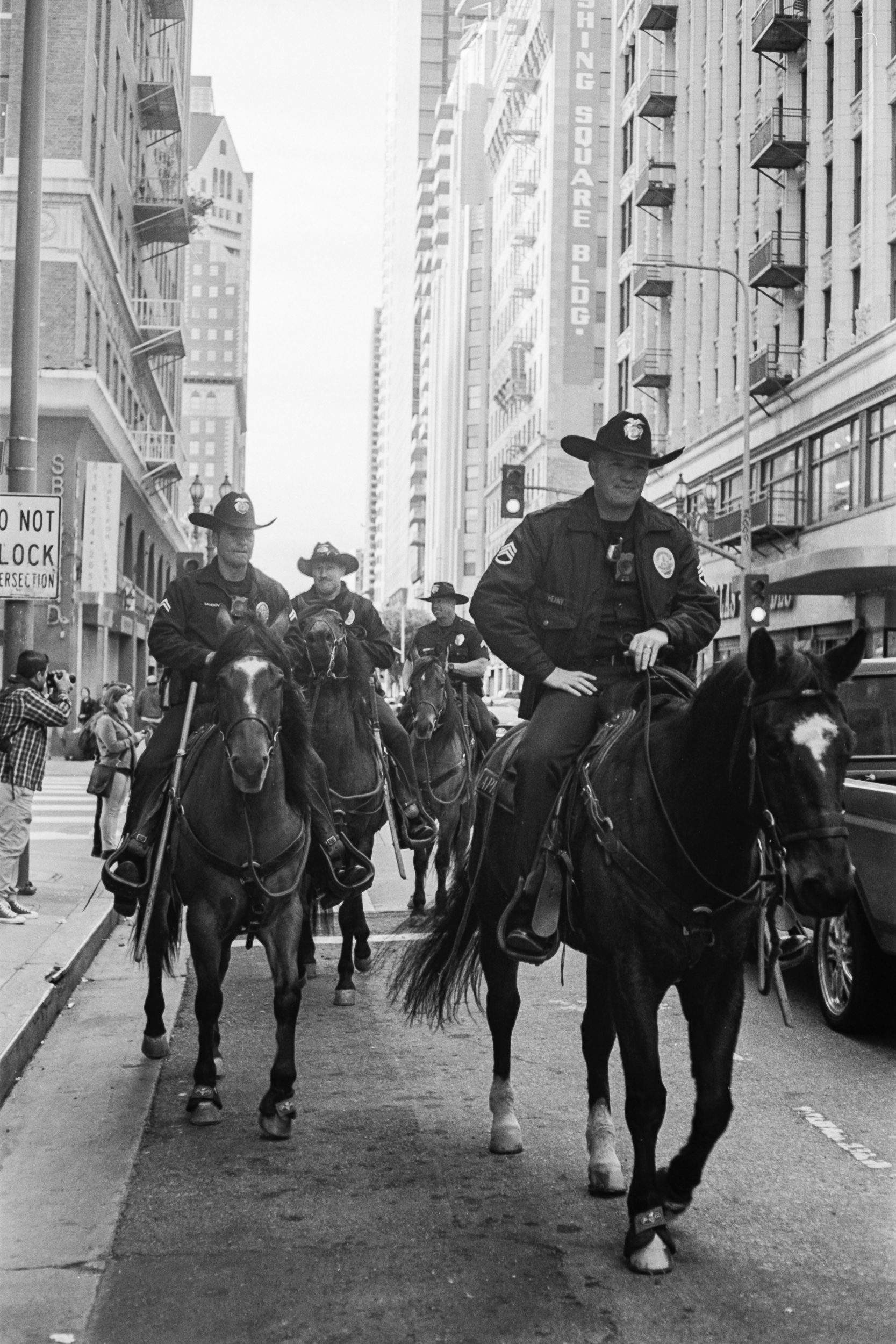 Mounted police patrol in Downtown Los Angeles, 2019.