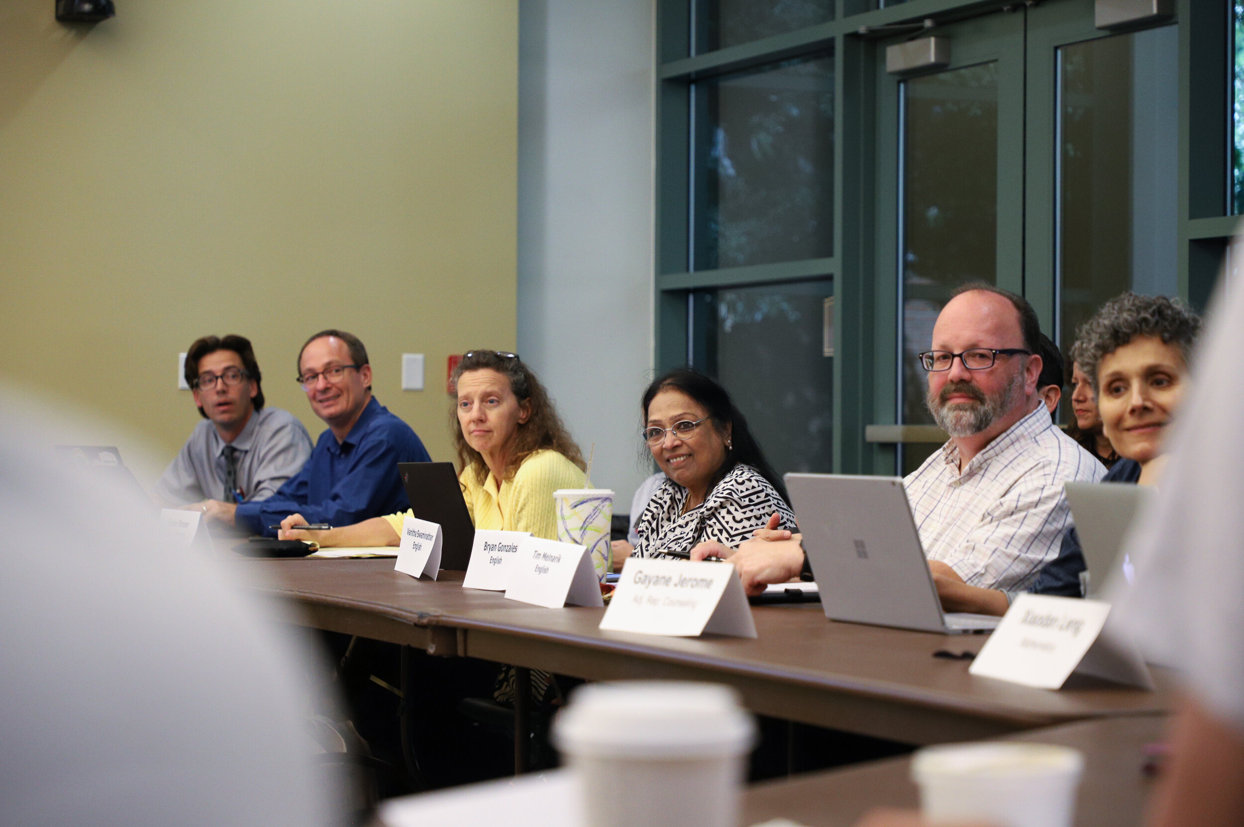 Nicholas Slobin/ Courier Faculty members during the Academic Senate Board Meeting at Pasadena City College on Monday, September 9, 2019.