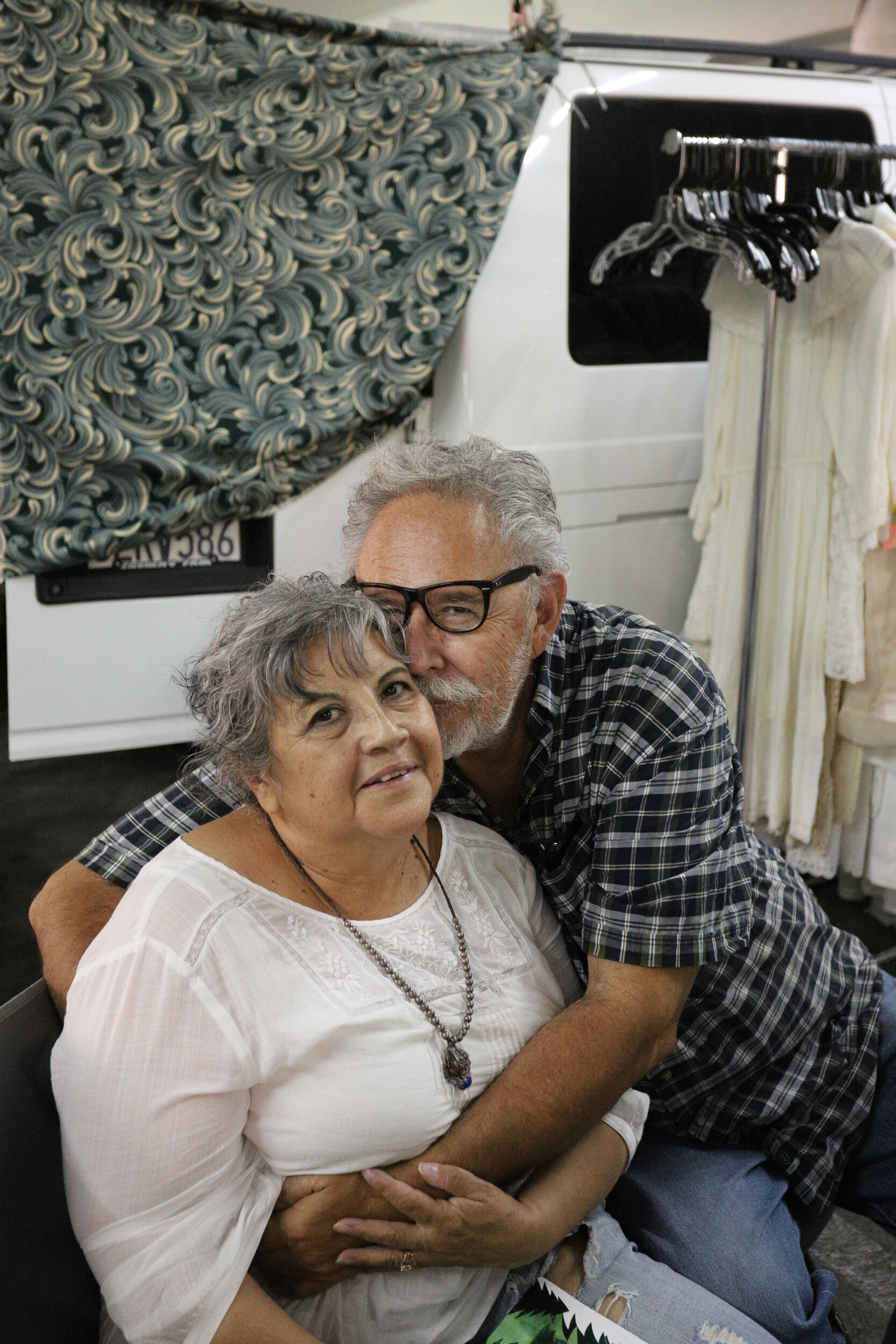 Nicholas Slobin/ Courier Terry Osorio and her husband who sell vintage clothing at the Pasadena City College Flea Market on Sunday, September 1, 2019.