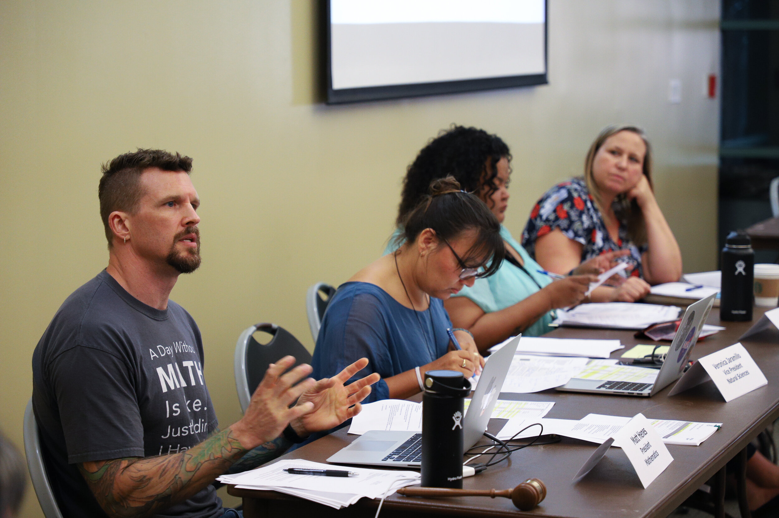 Nicholas Slobin/ Courier Matt Henes, president of the Academic Senate, speaks during the Academic Senate Board Meeting at Pasadena City College on Monday, September 9, 2019.