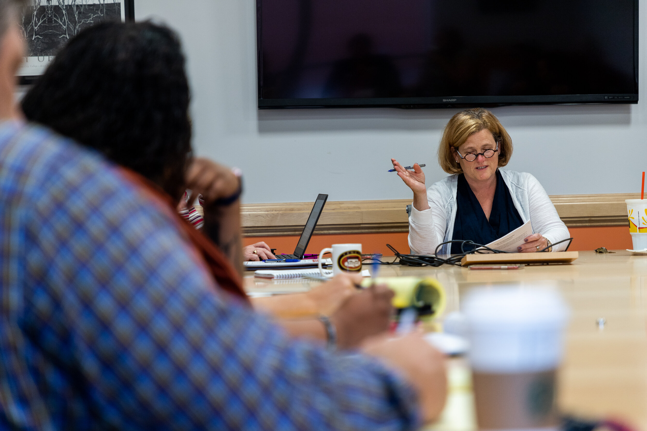 Nicholas Slobin/ Courier Pasadena City College President Erika Endrijonas leads the College Council meeting at PCC on Friday, September 19, 2019.
