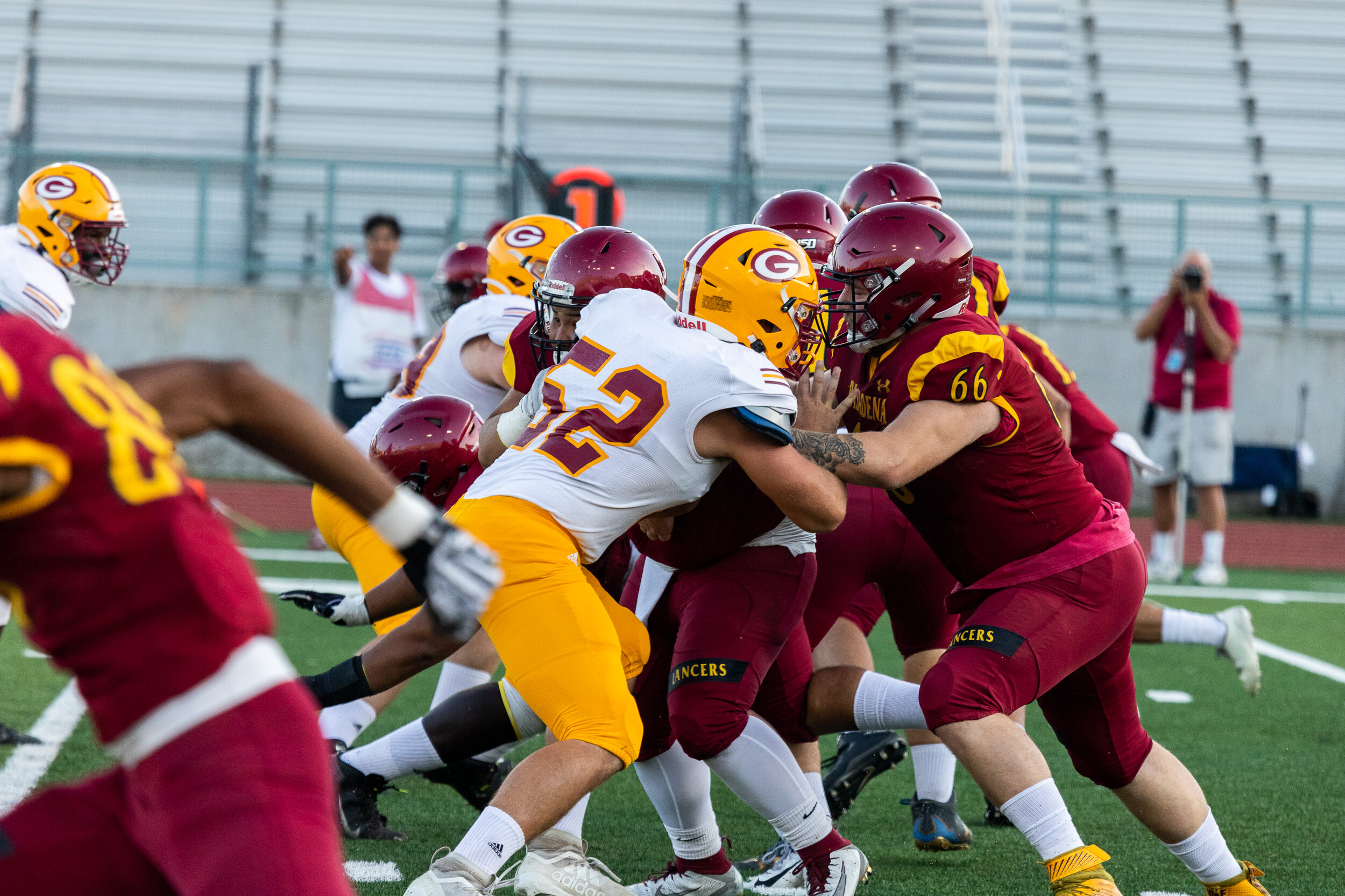 Nicholas Slobin/ Courier Pasadena City College Lancers and Saddleback College Gauchos collide during a SCFA Non-League game at PCC's Robinson Stadium on Saturday, September 21, 2019.