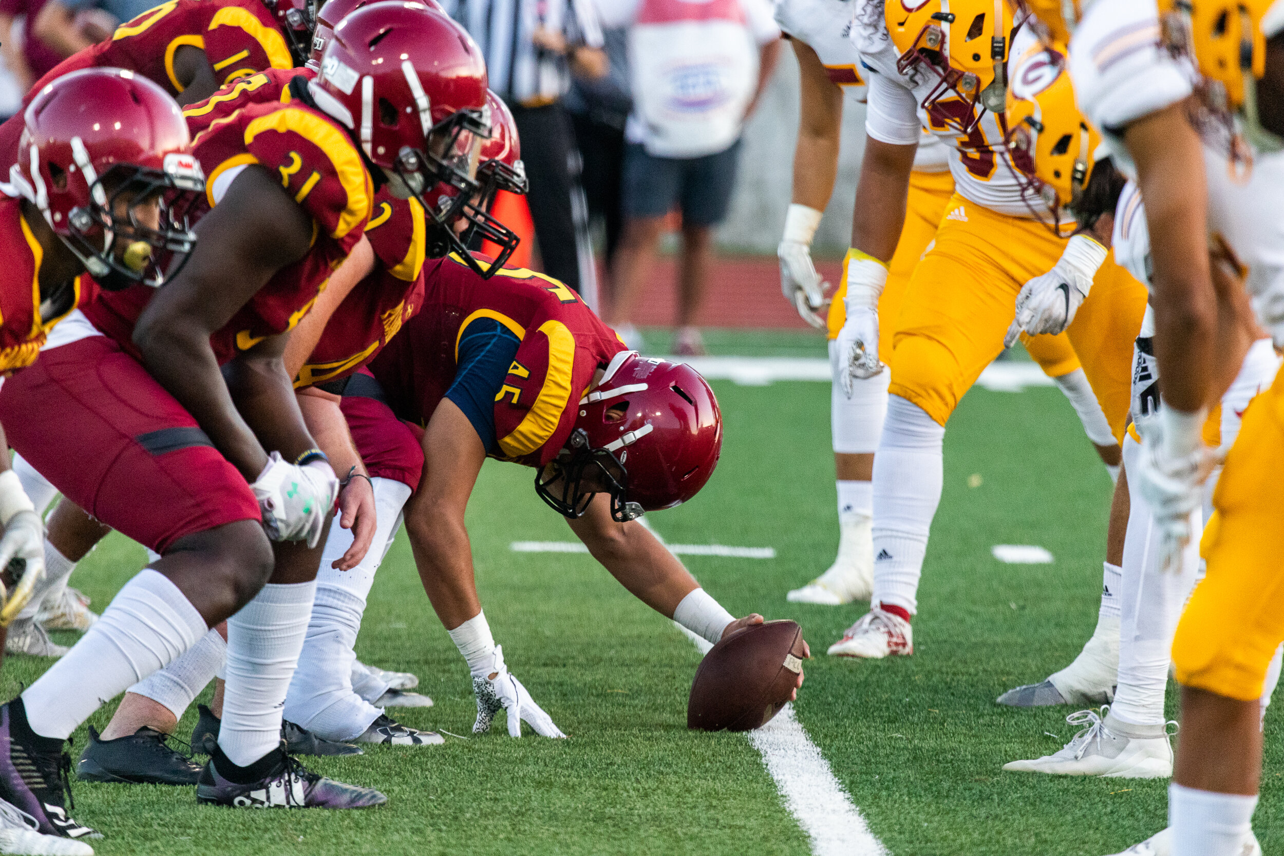 Nicholas Slobin/ Courier Pasadena City College Lancers and Saddleback College Gauchos prepare for the hike during a SCFA Non-League game at PCC's Robinson Stadium on Saturday, September 21, 2019.
