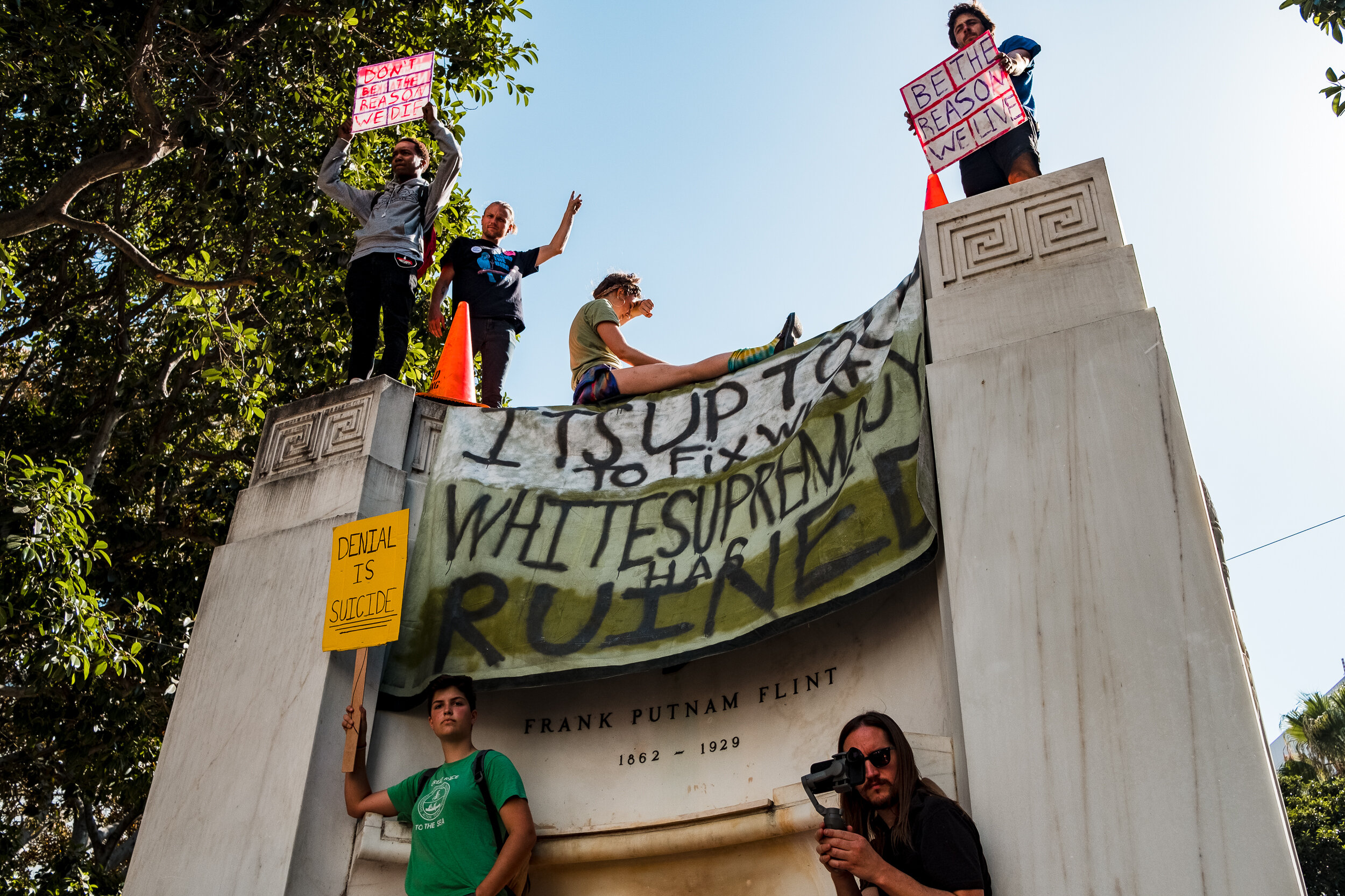 Nicholas Slobin/ Courier Protesters participate in the Global Climate Strike in Downtown Los Angeles on Friday, September 20, 2019.