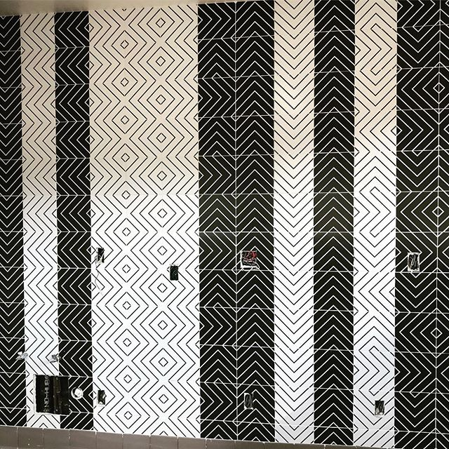 The ones and twos of #blackandwhite New tile install. #weho