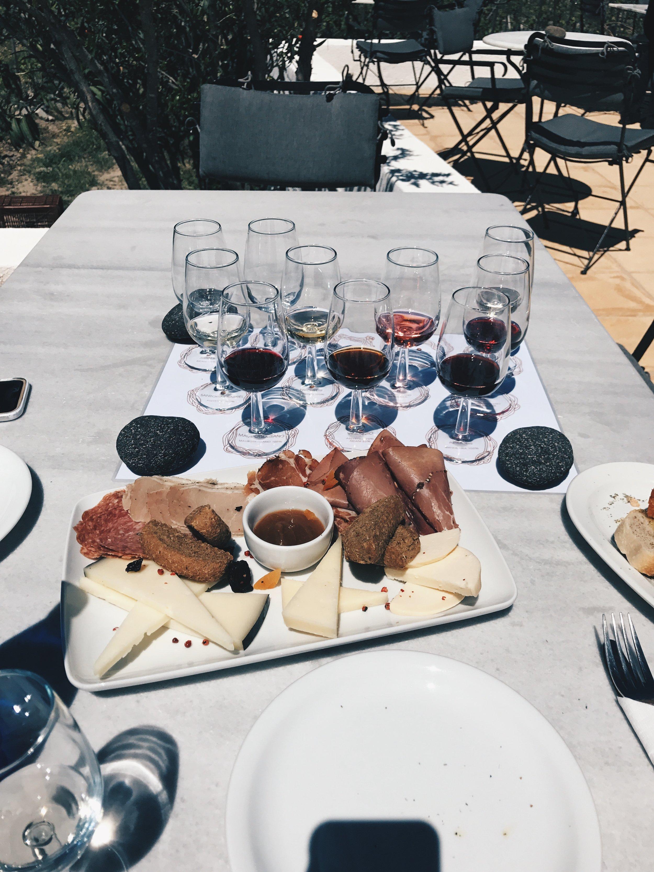 cheese, charcuterie, & wine - heaven.