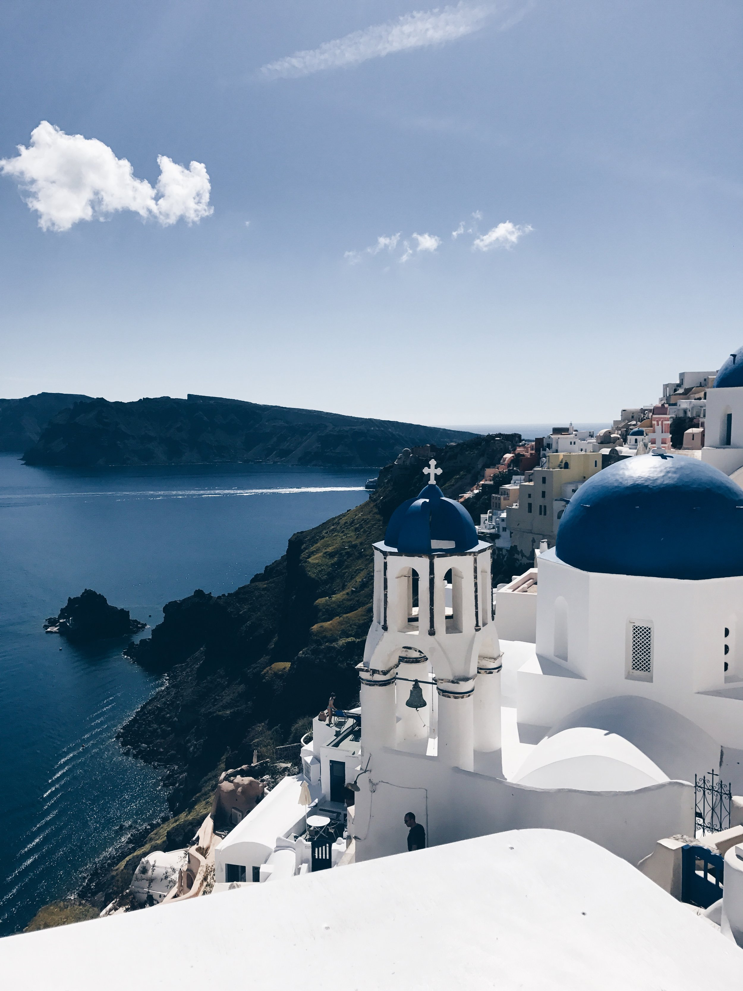 the iconic blue dome churches