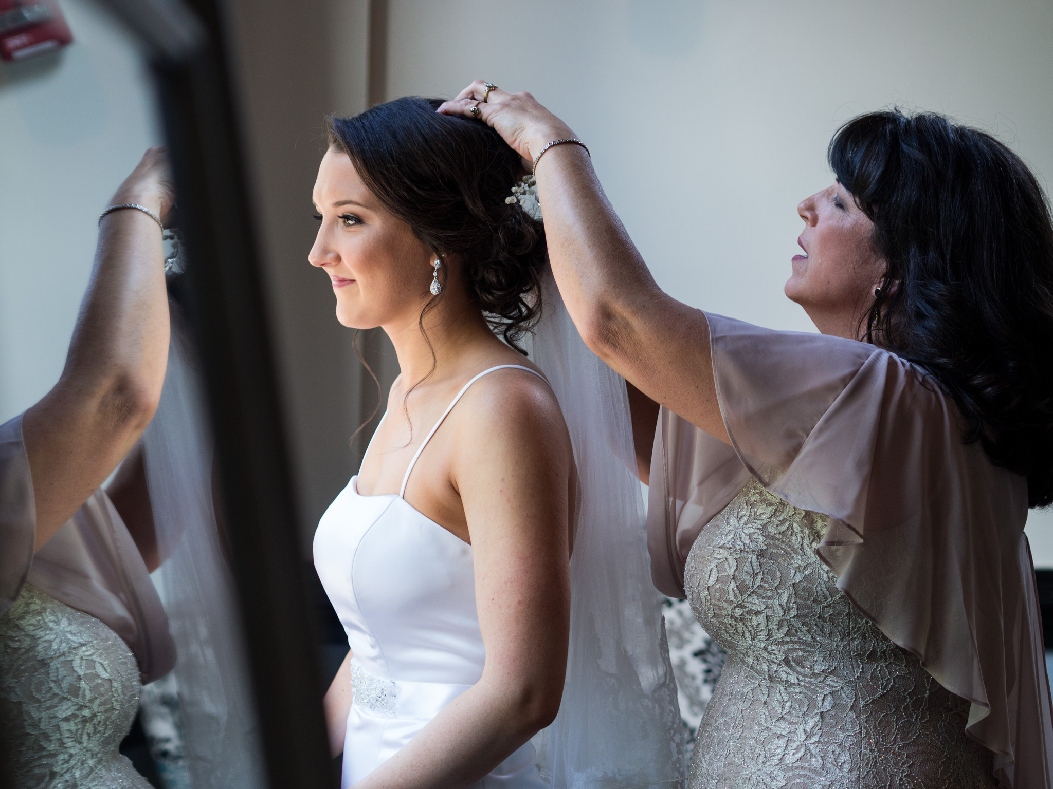 214 Martin Street, Wedding Photography, Wedding Dress, Getting Ready, Finishing Touches, Bride, Mother, Reflections