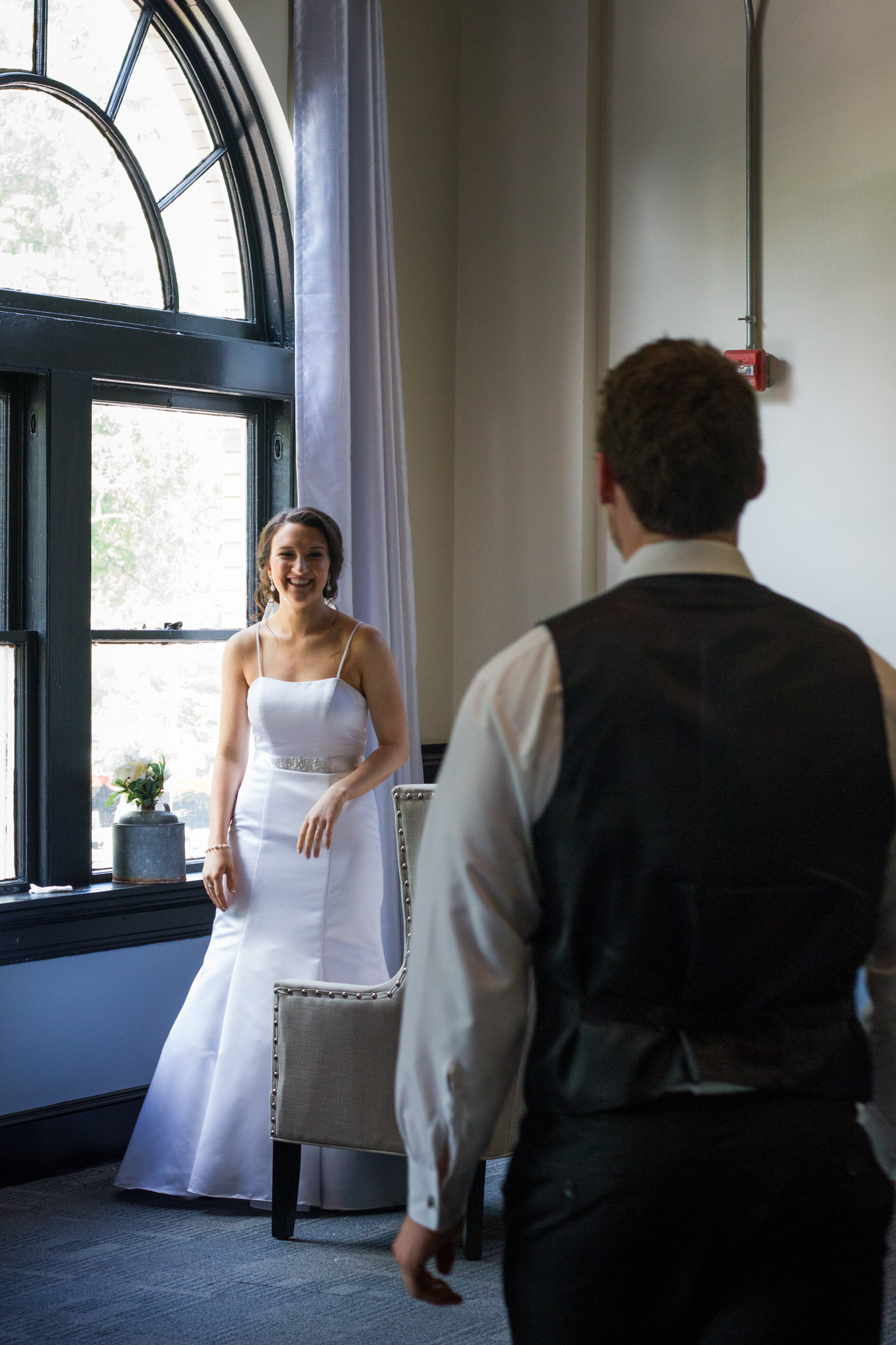 214 Martin Street, Wedding Photography, Wedding Dress, First Look, Groom